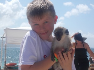 Sam and the offending monkey (Urgh!)
